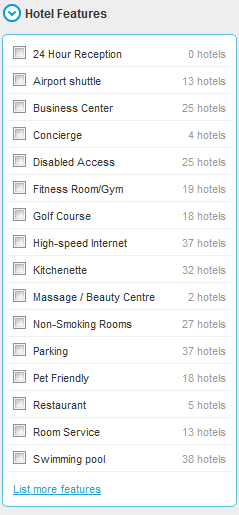 HotelsCombined hotel features option